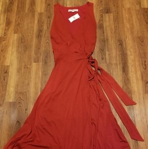 NWT- GORGEOUS LOFT RED, SLEEVELESS, WRAP DRESS